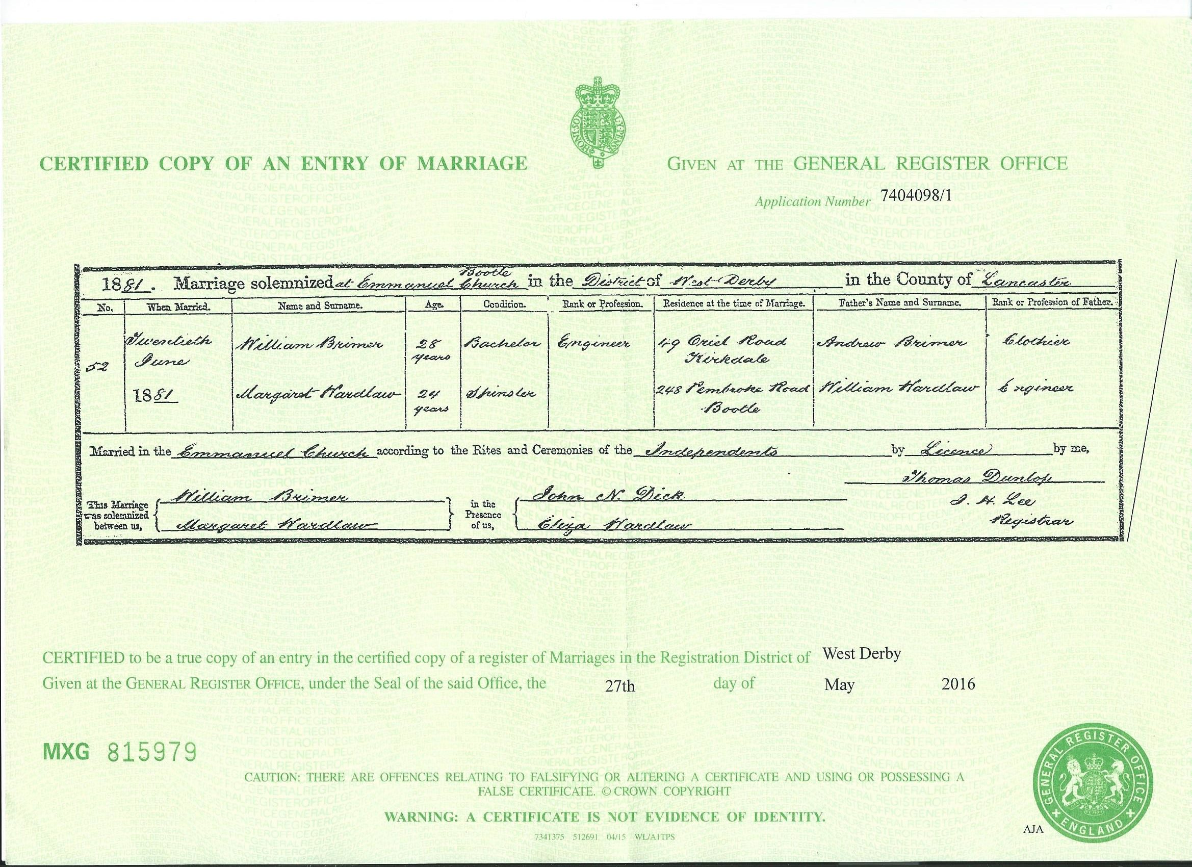 Marriages england and wales 1837 1941 brimer brymer surname in addition the minister prepared a further copy of the marriages every three months which was sent directly to the registrar general xflitez Gallery